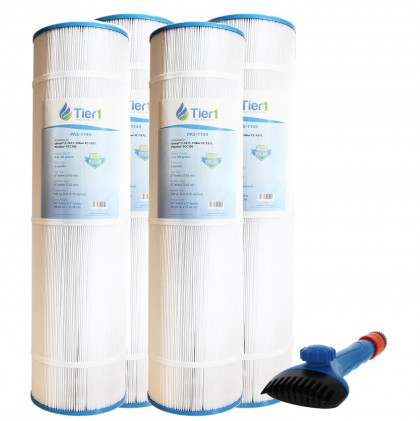 Tier1 817-0131, 178584 & R173476 Comparable Pool and Spa Filter (4-Pack) and Pool Filter Cleaning Brush