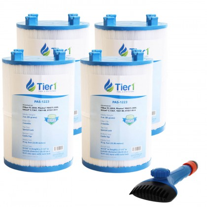 Tier1 1561-00 Comparable Pool and Spa Filter (4-Pack) and Pool Filter Cleaning Brush