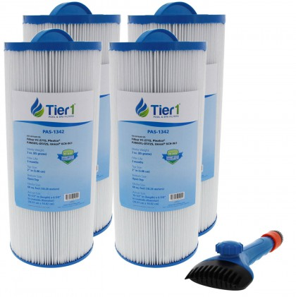 Tier1 6541-383 Comparable Pool and Spa Filter (4-Pack) and Pool Filter Cleaning Brush