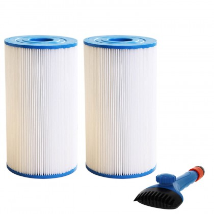 Tier1 31489 Comparable Pool and Spa Filter (2-Pack) and Pool Filter Cleaning Brush