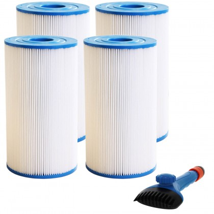 Tier1 31489 Comparable Pool and Spa Filter (4-Pack) and Pool Filter Cleaning Brush