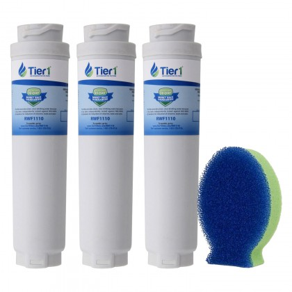 Tier1 Bosch 644845 / UltraClarity REPLFLTR10 Comparable Refrigerator Water Filter and DishFish (3 Pack)
