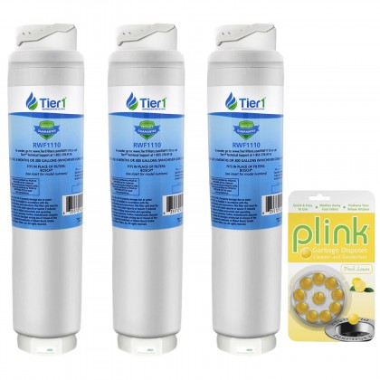 Tier1 Bosch 644845 / UltraClarity REPLFLTR10 Comparable Refrigerator Water Filter and Plink Garbage Disposal Cleaner (3 Pack)