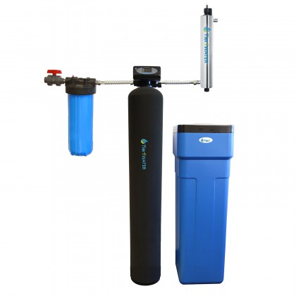 Tier1 48,000 Grain Capacity Water Softener plus 20-Inch Pre-Filter Housing Kit and 18 GPM UV Filter